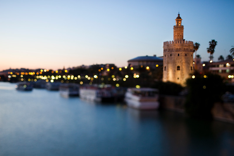 Torre del Oro with extremely shallow depth of field due to tilted lens