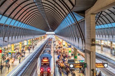 Rush hour, Santa Justa Railway Station, Seville, Spain.