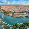 Aerial view of the city of Seville and the Guadalquivir river, Spain. High resolution panorama.