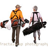 Mature Male and Femaile golfers carrying bags