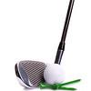 Golf Iron, White Ball, Green Tees on White Background