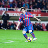 Messi shooting onto goal. Spanish Cup game between Sevilla FC and FC Barcelona, Ramon Sanchez Pizjuan stadium, Seville, Spain, 13 January 2010