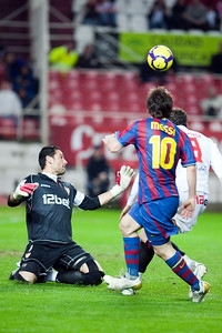 Goal chance by Messi, Spanish Cup game between Sevilla FC and FC Barcelona, Ramon Sanchez Pizjuan stadium, Seville, Spain, 13 January 2010