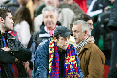 Sadness of a FC Barcelona after his team elimination. Spanish Cup game between Sevilla FC and FC Barcelona, Ramon Sanchez Pizjuan stadium, Seville, Spain, 13 January 2010