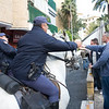 Horseback policemen in action against Tottenham fans, Seville, Spain