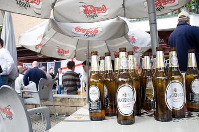 Tottenham fans drinking beer on Seville's streets, Spain