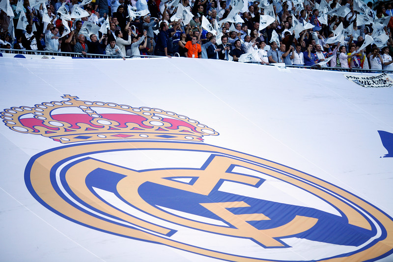 Tifo by Real Madrid fans, UEFA Champions League Semifinals game between Real Madrid and FC Barcelona, Bernabeu Stadiumn, Madrid, Spain