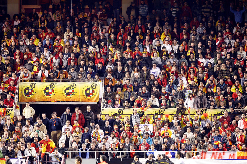 The stands crowded with Spanish fans. Taken during the friendly football game between the national teams of Spain and England that took place in the Sanchez Pizjuan stadium, Seville, Spain, 11 Feb 2009.
