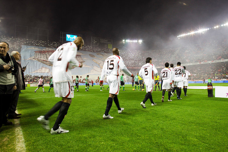 Sevilla FC players coming out onto the pitch. Taken during the football derby between Sevilla FC and Real Betis Balompie that took place in Sanchez Pizjuan stadium on 7 Feb 2009, Seville, Spain.