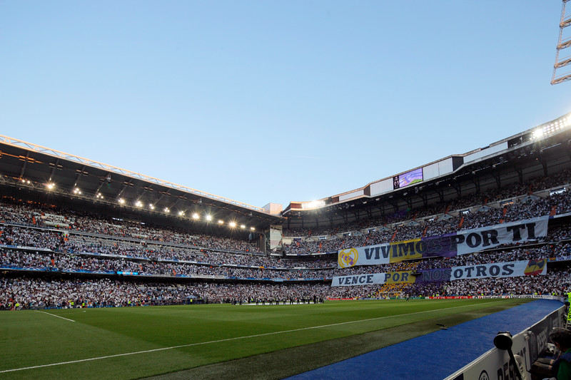 Crowded terraces for the UEFA Champions League Semifinals game between Real Madrid and FC Barcelona, Bernabeu Stadiumn, Madrid, Spain