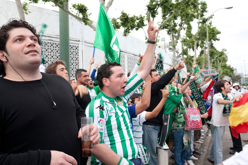 Real Betis fans shouting at Sevilla FC players as they arrive by bus. Taken before the local derby between Real Betis and Sevilla FC which took place at Ruiz de Lopera stadium, Seville, Spain, on 11 May 2008.