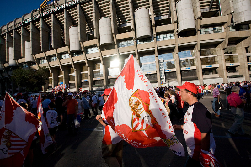 Taken outside the Santiago Bernabeu stadium before the Spanish Cup (Copa del Rey) final game between Sevilla FC and Getafe FC, 23th June 2007, Madrid, Spain.
