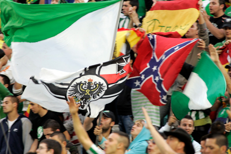 Real Betis fans showing fascist symbols. Taken before the local derby between Real Betis and Sevilla FC which took place at Ruiz de Lopera stadium, Seville, Spain, on 11 May 2008.