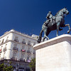 Statue of the Spanish king Charles the Third, Puerta del Sol, Madrid city center, Spain
