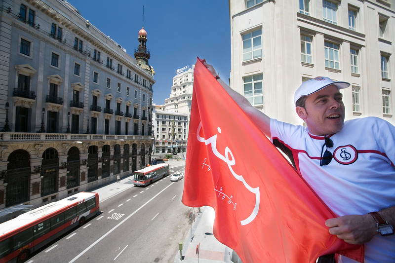 Taken in Madrid city center where thousands of Sevilla FC fans came from Seville for the Spain's Cup (Copa del Rey) final game between their team and Getafe CF, 23th June 2007.