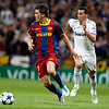 Villa with the ball pursued by Arbeloa, UEFA Champions League Semifinals game between Real Madrid and FC Barcelona, Bernabeu Stadiumn, Madrid, Spain
