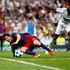 Messi falling down, UEFA Champions League Semifinals game between Real Madrid and FC Barcelona, Bernabeu Stadiumn, Madrid, Spain