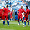 Xavi, Mascherano, Keita and Pedro (left to right) warming up before the UEFA Champions League Semifinals game between Real Madrid and FC Barcelona, Bernabeu Stadiumn, Madrid, Spain