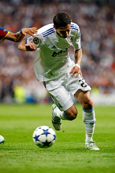 Di Maria with the ball, UEFA Champions League Semifinals game between Real Madrid and FC Barcelona, Bernabeu Stadiumn, Madrid, Spain