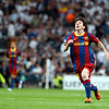 Messi looking at ball, UEFA Champions League Semifinals game between Real Madrid and FC Barcelona, Bernabeu Stadiumn, Madrid, Spain