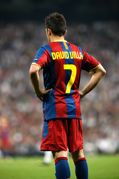 David Villa's back, UEFA Champions League Semifinals game between Real Madrid and FC Barcelona, Bernabeu Stadiumn, Madrid, Spain