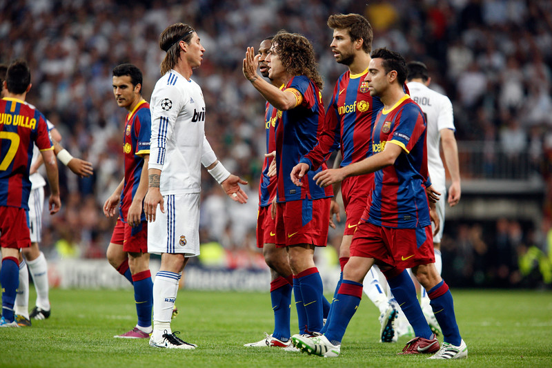 Sergio Ramos arguing with Puyol, UEFA Champions League Semifinals game between Real Madrid and FC Barcelona, Bernabeu Stadiumn, Madrid, Spain
