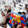 FC Barcelona flag among Real Madrid fans, UEFA Champions League Semifinals game between Real Madrid and FC Barcelona, Bernabeu Stadiumn, Madrid, Spain