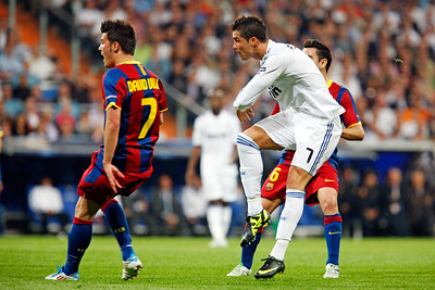 Cristiano Ronaldo shooting at goal, UEFA Champions League Semifinals game between Real Madrid and FC Barcelona, Bernabeu Stadiumn, Madrid, Spain