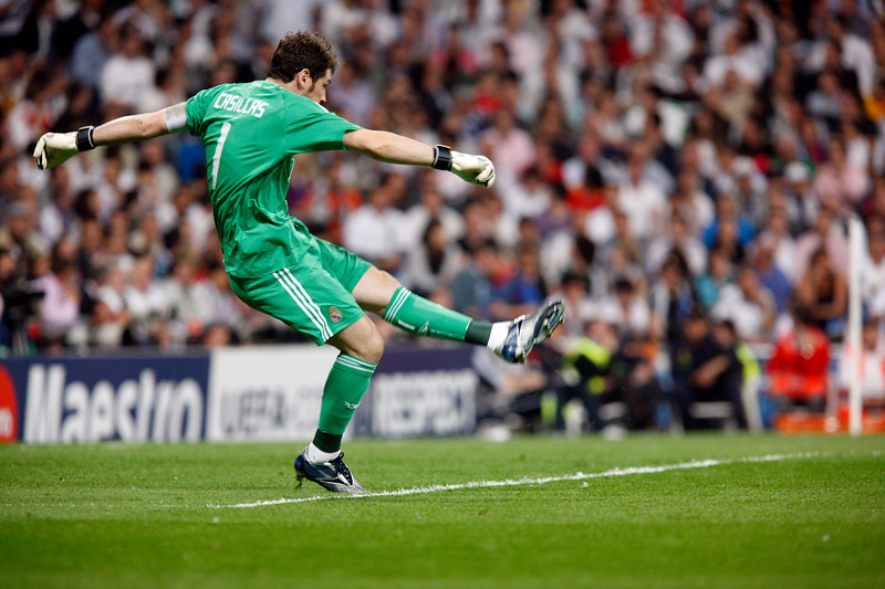Iker Casillas performing a goal kick, UEFA Champions League Semifinals game between Real Madrid and FC Barcelona, Bernabeu Stadiumn, Madrid, Spain