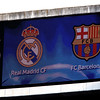The scoreboard before the beginning of the UEFA Champions League Semifinals game between Real Madrid and FC Barcelona, Bernabeu Stadiumn, Madrid, Spain