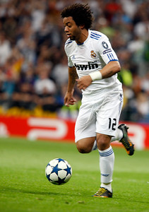 Marcelo controlling the ball, UEFA Champions League Semifinals game between Real Madrid and FC Barcelona, Bernabeu Stadiumn, Madrid, Spain