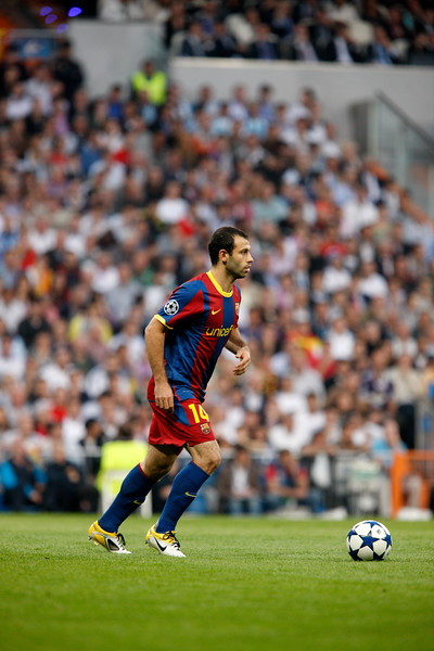 Mascherano with the ball, UEFA Champions League Semifinals game between Real Madrid and FC Barcelona, Bernabeu Stadiumn, Madrid, Spain