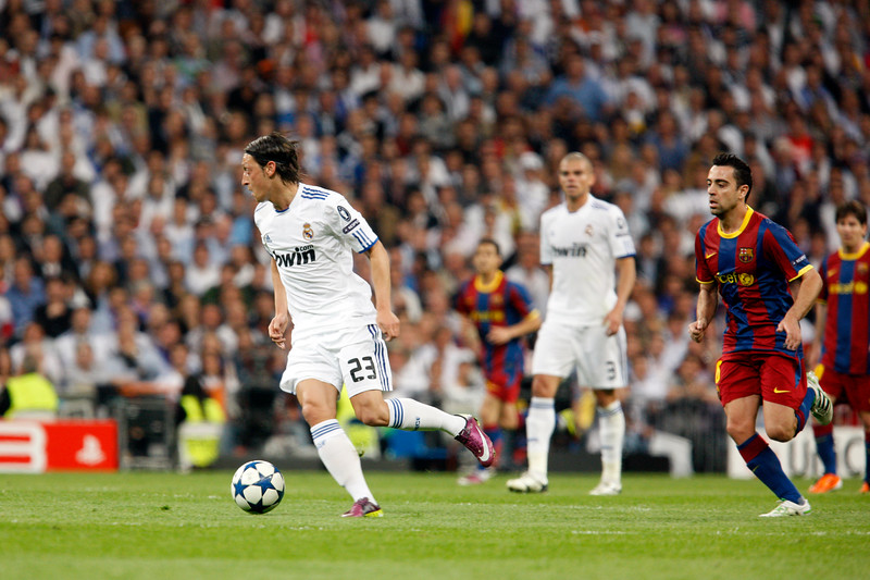 Ozil with the ball, UEFA Champions League Semifinals game between Real Madrid and FC Barcelona, Bernabeu Stadiumn, Madrid, Spain