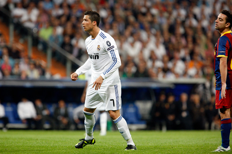 Cristiano Ronaldo looking at the ball after a shot, UEFA Champions League Semifinals game between Real Madrid and FC Barcelona, Bernabeu Stadiumn, Madrid, Spain