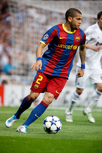Alves with the ball, UEFA Champions League Semifinals game between Real Madrid and FC Barcelona, Bernabeu Stadiumn, Madrid, Spain