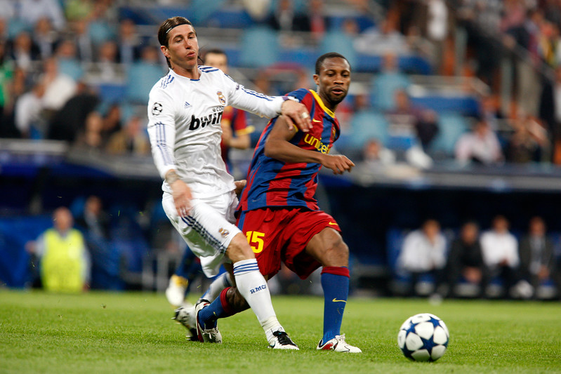 Sergio Ramos and Keita, UEFA Champions League Semifinals game between Real Madrid and FC Barcelona, Bernabeu Stadiumn, Madrid, Spain