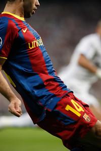 Mascherano's torso, UEFA Champions League Semifinals game between Real Madrid and FC Barcelona, Bernabeu Stadiumn, Madrid, Spain