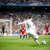 Cristiano Ronaldo performing a free kick, UEFA Champions League Semifinals game between Real Madrid and FC Barcelona, Bernabeu Stadiumn, Madrid, Spain