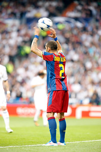Dani Alves performing a throw-in, UEFA Champions League Semifinals game between Real Madrid and FC Barcelona, Bernabeu Stadiumn, Madrid, Spain