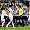 The referee books Ramos with a yellow card, UEFA Champions League Semifinals game between Real Madrid and FC Barcelona, Bernabeu Stadiumn, Madrid, Spain, booking, caution,