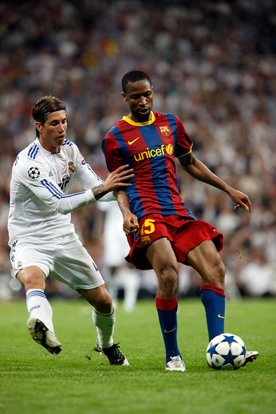 Sergio Ramos marking Keita, UEFA Champions League Semifinals game between Real Madrid and FC Barcelona, Bernabeu Stadiumn, Madrid, Spain