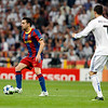 Xavi watched by Cristiano Ronaldo, UEFA Champions League Semifinals game between Real Madrid and FC Barcelona, Bernabeu Stadiumn, Madrid, Spain