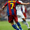 David Villa trying to dribble past Cristiano Ronaldo, UEFA Champions League Semifinals game between Real Madrid and FC Barcelona, Bernabeu Stadiumn, Madrid, Spain