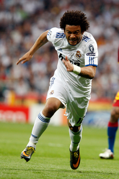 Marcelo running, UEFA Champions League Semifinals game between Real Madrid and FC Barcelona, Bernabeu Stadiumn, Madrid, Spain