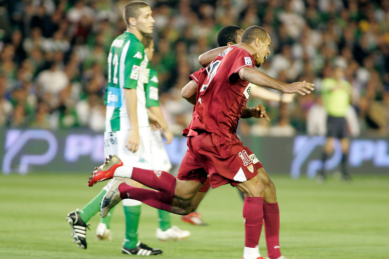 Luis Fabiano and Keita (behind) celebrating a goal. Local derby between Real Betis and Sevilla FC, Ruiz de Lopera stadium, Seville, Spain, 11 May 2008.