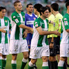 Real Betis  players shaking the hands of their opponent ones. Local derby between Real Betis and Sevilla FC, Ruiz de Lopera stadium, Seville, Spain, 11 May 2008.