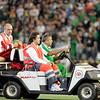 Injured player being removed from the field. Local derby between Real Betis and Sevilla FC, Ruiz de Lopera stadium, Seville, Spain, 11 May 2008.