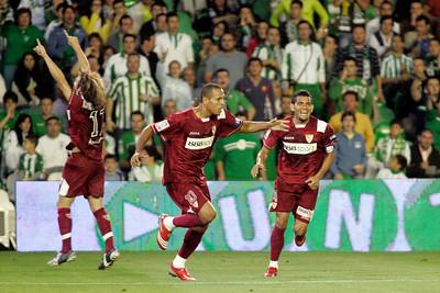 Diego Capel, Luis Fabiano and Daniel Alves celebrating a goal. Local derby between Real Betis and Sevilla FC, Ruiz de Lopera stadium, Seville, Spain, 11 May 2008.