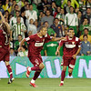 Diego Capel, Luis Fabiano and Daniel Alves celebrating a goal. Local derby between Real Betis and Sevilla FC, Ruiz de Lopera stadium, Seville, Spain, 11 May 2008.