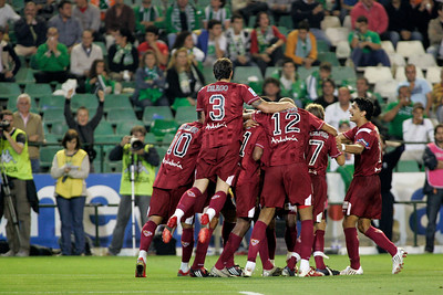 Sevilla FC players celebrating a goal. Local derby between Real Betis and Sevilla FC, Ruiz de Lopera stadium, Seville, Spain, 11 May 2008.